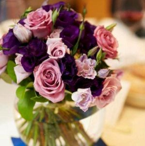 Purple Posy Arrangements for Guest Tables