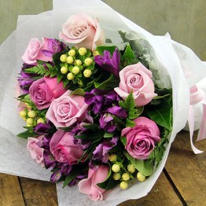 Purple Posy with Free Candle (Sydney Only)