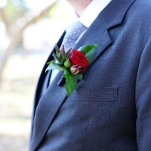 Spray Rose & Succulent Buttonhole