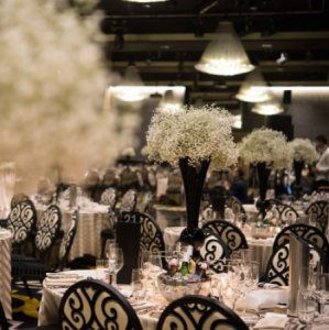 Tall Guest Table Arrangements of Massed Babies Breath