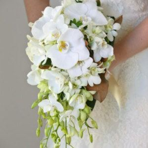 Small Teardrop Bridal Bouquet with Orchids