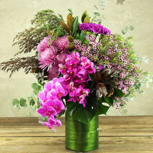 Theatrical Pink Flower Vase Flower Delivery Sydney