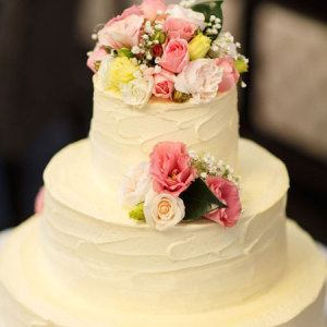 Three Tier Cake with Pink, Lemon & White Flowers (Large)