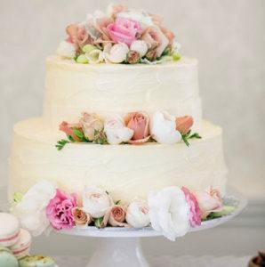 Two Tier Wedding Cake with White, Latte & Pink Flowers (Medium)