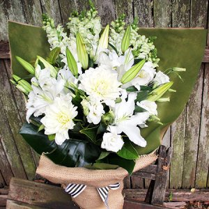 All White Bouquet of Flowers
