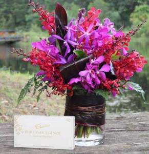 Vivid Orchid Vase & Chocolate Box
