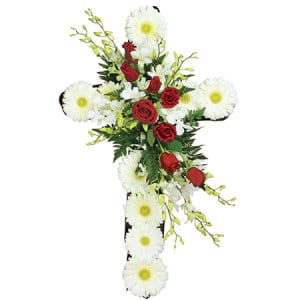 White and Red Funeral Cross by Sydney`s Funeral Florist Experts