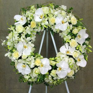 White Orchid Tribute Wreath