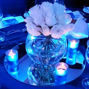 White Rose Clusters on Mirrored Tile