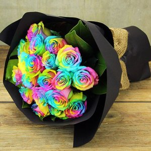 Willy Wonka Rainbow Roses - 20 Stems