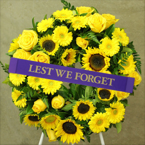 Sunflower Anzac Day Wreath Delivered