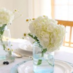 Classic white hydrangea in mason jars with miniature daisies. Send flowers online.