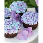 Hydrangea inspired decorated cupcakes. Online florist.