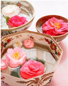Bowls of floating flowers