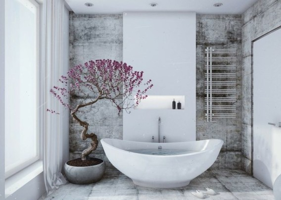 bonsai in bathroom