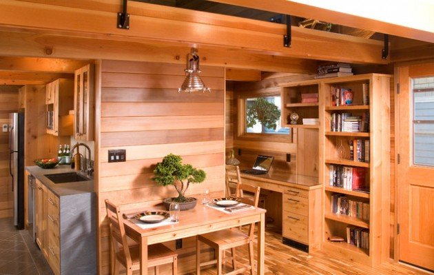 timber interior with bonsai plant