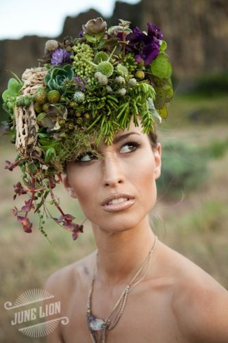 floral headpiece using succulents