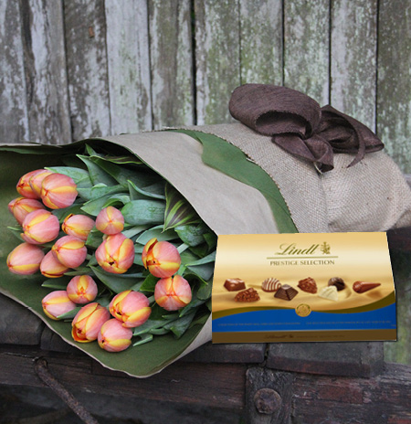 tulips and chocolate for easter