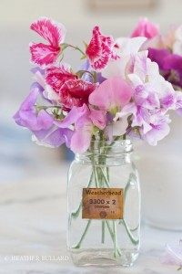 sweet peas in mason jar