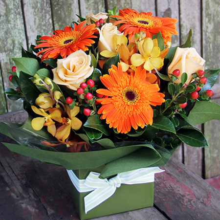 autumn flowers in box