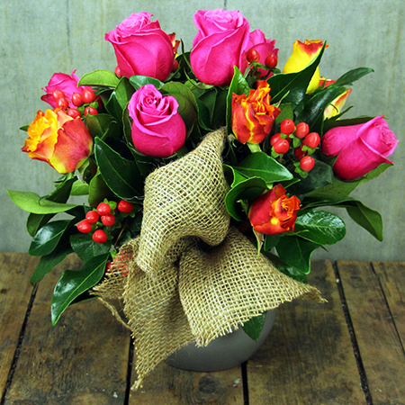 pink and orange rose pot
